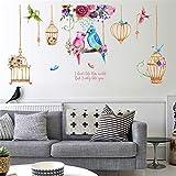 ufengke Adesivi Murali Gabbie per Uccelli Adesivi Muro Fiore per Camera da Letto Soggiorno Casa