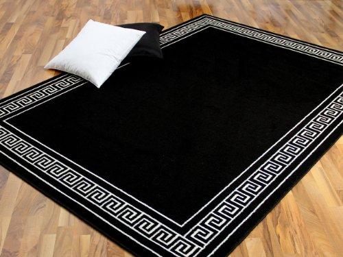 Pergamon Teppich Trendline Schwarz Weiß Römische Bordüre 4 Größen - Schwarz Akzent Teppich