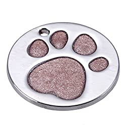 Rrimin Pet Cat Dog ID Tags Customized Personalized Round Feet Shaped Alloy Dog Tag (Pink)