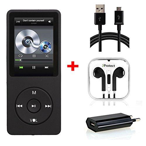 iProtect 16GB MP3-Player Set In-Ear Kopfhörer 70 Stunden Audiowiedergabe Musik-/Video Player Speicher bis zu 64GB erweiterbar mit Radio-Funktion und 16GB Micro SD-Karte in schwarz