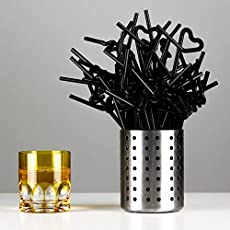 Satyam Kraft Bendable Neck Plastic Drinking Straws - Suitable for Soft Drinks, Juices, Ice Tea, Butter Milk and Cocktails - Black - (Pack of 100 Pcs)