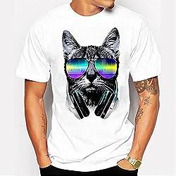 Camiseta manga corta para hombre,VENMO Hombre Chico Más Tamaño Punk Cráneo Estampado Floral Manga Corta Camiseta Blusa Tops (M, gato)