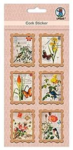 Ursus 41050004Corcho Pegatinas, Carta Marca Flora y Fauna, 6Unidades