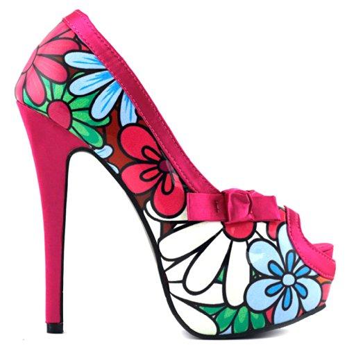 Show Story , Peep-Toe femme Multicolore - Rose