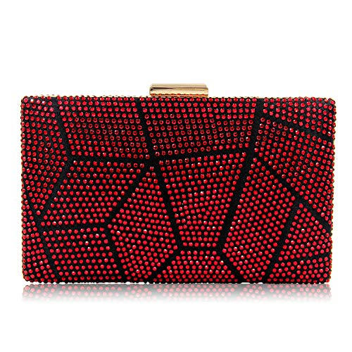 JBAG-one Clutches Bag für Frauen, Crystal Sparkly Abend Clutch Bag, Strass Glitter Clutch Geldbörse, Handtasche für Party, Hochzeit,Red - Clutch Red Crystal