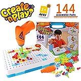 SYOSIN Steckspiel Bohrmaschine Mosaik Spielzeug Bohrer STEM Schrauben Kreatives DIY Werkzeuge Spielzeug Steckspiele für Kinder (144 Stücke)