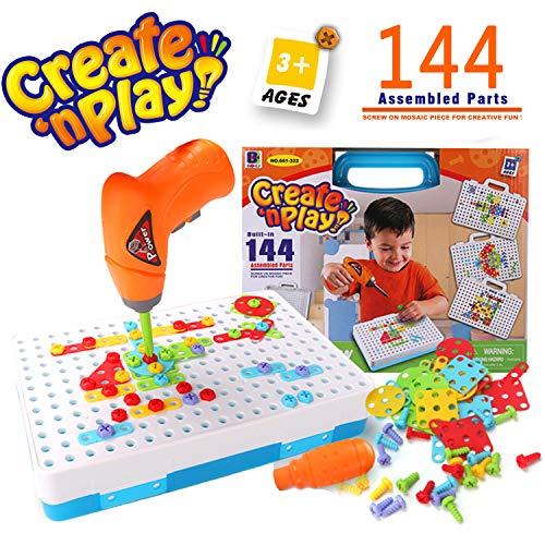 SYOSIN Trapano Giocattolo con Cacciavite Chiodini Mosaico Gioco Costruzioni STEM Educativi Giocattoli Montessori per Bambini 3 Anni O più(144 Pezzi)