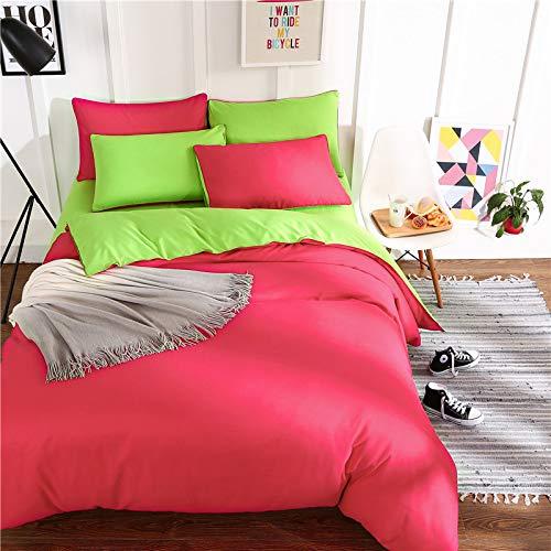 ZHAOCAI Einfache doppel-Reine einfarbige Baumwoll-Imitation Laken Vier Stück einzigen Schlafsaal Aloe Baumwolle dreiteilige Diamant rot und grün 2,2 m -