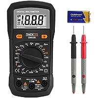 Multímetro Digital, Tacklife DM03B Polimetro 2000 counts, Tester Electrico de rango automático, Amperimetro Voltímetro Ohmímetro DMM para medir corriente AC/DC, Multi Tester con retroiluminación LCD de Negro Caballero