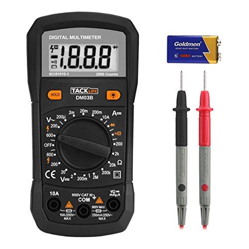 Multímetro Digital, Tacklife DM03B Polimetro 2000 counts, Tester Elec