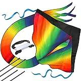 AGREATLIFE Riesiger Regenbogen Drachenflieger - 50M Drachenschnur und Riesen 106cm Spannweite - Flugdrachen Einleiner für Kinder - Fliegt In Jeder Brise - Leicht und Stabil - Drachen-Bastelset