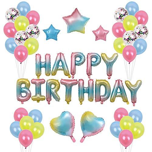 TOPWINRR Deko Geburtstag Mädchen Junge Luftballons Kindergeburtstag Dekoration Set Geburtstagsdeko Happy Birthday Girlande, Blau Rose Gelb (Blau-party Dekorationen Gelb Und)