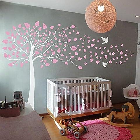 Naturaleza Bosque wandtat árboles y hojas pared pájaros adhesivo decorativo para pared vinilo decoración de interiores, D, 80