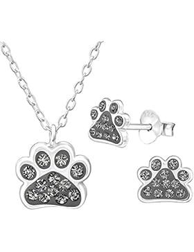 JAYARE Kinder Schmuckset Hundepfoten Tatzen 925 Sterling Silber mit 38 funkelnden Swarovski Elements Glitzer-Kristallen...