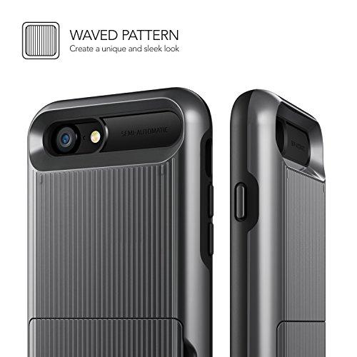 Cover iPhone 8 / iPhone 7, VRS Design® Custodia [Argento Satinato] Antiurto Folding Wallet [Damda Folder] Case per Carte di Credito Perfetto Protezione per Apple iPhone 8 (2017) / iPhone 7 (2016) Nero