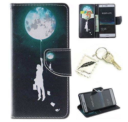 Preisvergleich Produktbild Silikonsoftshell PU Hülle für Huawei P9 Lite Tasche Schutz Hülle Case Cover Etui Strass Schutz schutzhülle Bumper Schale Silicone case+Exquisite key chain X1#AZ (9)