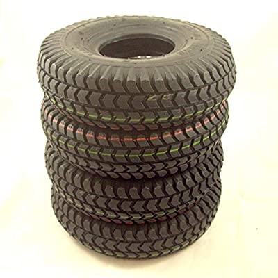 Set of 4 Black Block Tread Pneumatic Mobility Scooter Tyres Size 3.00-4 (300x4)(260x85)