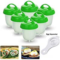 Egg Cooker,6pcs Boiled Egg Cups no Shell - Food-grade Silicone Egg Cooking Mould (green)