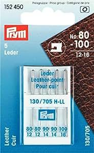Prym - Aghi per macchina da cucire, per pelle, misura: 80-100, 5 pz