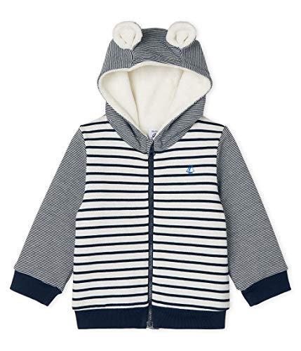 Petit Bateau Sweat Shirt A Capuche_5089201, Multicolore (Marshmallow/Smoking 01), 98 (Taille Fabricant: 36M/95centimeters) Bébé garço