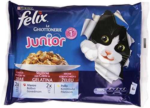 Felix - Le  Ghittonerie Junior, Selezioni Con Carni In Gelatina, Manzo E Pollo - 400 G  4 Buste