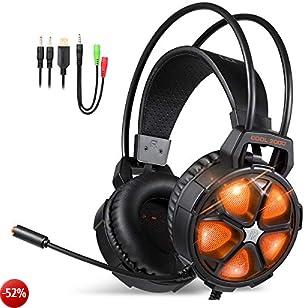 EasySMX Cuffie gaming, COOL 2000 Cuffie da gioco con Microfono e Bass Stereo, Cancellazione del Rumore, Controllo del Volume, Illuminazione a LED, Colore Rosso