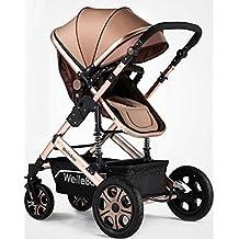 NWYJR carros de bebé plegable anti-choque de alta Ver elástico conveniencia ruedas giratorias bi-direccional de viajes Sistema Cochecito , khaki