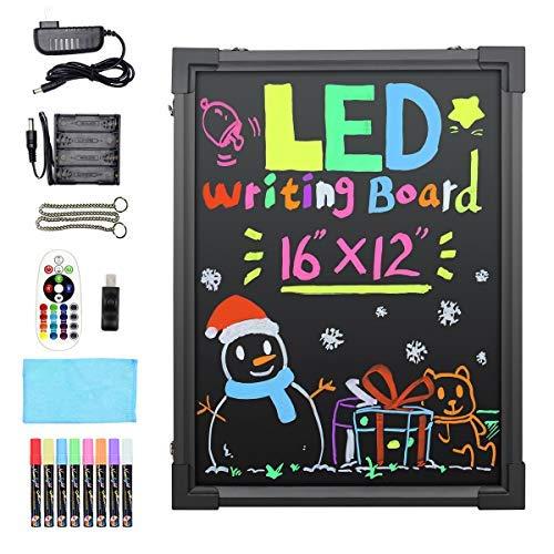 Hosim LED Schreibtafel, 30cm x 40cm beleuchtetes Löschbares Neon-Effekt-Restaurant-Menü-Schild mit 8 Farben Marker, 7 Farben blinkende Mode DIY Tafeln für Küche Hochzeit