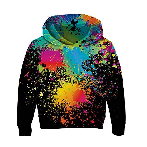 RAISEVERN Grande niñas niños Unisex Graffiti impresión suéter con Capucha Chaqueta Manga Larga Sudadera Chandal Negro