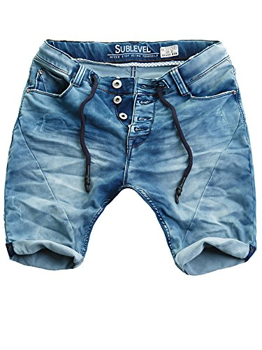 Sublevel Herren Sweat Denim Shorts Kurze Hose Bermuda Denim Sweatpants Jogger Vintage Used Look (Dark Blue - H-61145/KD11, W34)