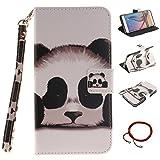 GOCDLJ Samsung Galaxy S6 Edge Plus Hülle Muster PU Leder Flip Cover Tasche Ledertasche Handytasche Schutzhülle Handyhülle Case Etui Wallet Lanyard Strap Shell Design Netter Panda