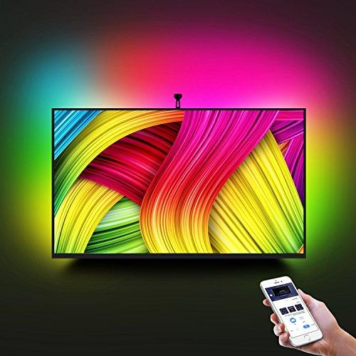 Tira LED TV con Cámara, Minger Lluminación de Retroiluminación LED TV, Flexible 5050 RGB, Tres modos (Video, Música, Personalizado), Control de APP