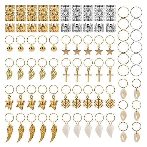 AIM Cloudbed set di 250 anelli metallo con ciondoli per trecce dreadlock accessori per capelli colore oro e argento con scatola e Lega colore Gold