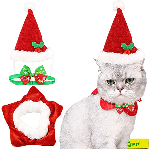Wiz BBQT Cute Rot und Weiß Cat Dog Pet Weihnachten Santa Hat und Halsband Fünfzackigem Stern Kostüm und Halsband Fliege für Kleine Katzen Hunde Haustiere Kitten Puppy