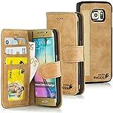 Golden Phoenix® ROYAL Lederhülle für Samsung-Galaxy-S6-Edge-Plus mit abnehmbarem Backcover, Geldfach und Kartenschlitze inkl. Display Schutzfolie - Hülle Tasche in Braun