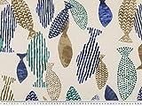 Dekostoff, farbige Fische, natur-blau-mehrfarbig, 140cm