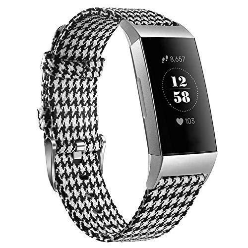 Kmasic Kompatibel für Fitbit Charge 3 Armband, Gewebte Stoff Ersatz Gurt Schnelle Ver?ffentlichung Sport Metall Schnalle Armband für Fitbit Charge 3, Groß, Schwarz/Weß Plaid Großes Armband