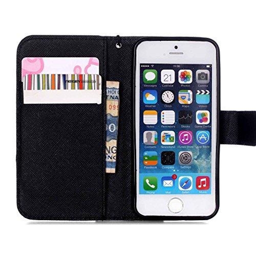 Meet de Folio Apple iPhone SE Case ,Wallet flip étui en cuir / Pouch / Case / Holster / Wallet / Case pour Apple iPhone SE PU Housse / en cuir Wallet Style de couverture de cas Coque pour téléphone po AF001