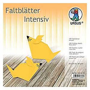 Ursus 3145119 - Hojas Plegables (100 Unidades, 65 g/m², 20 x 20 cm, para Artistas de Origami, teñidas), Color Amarillo