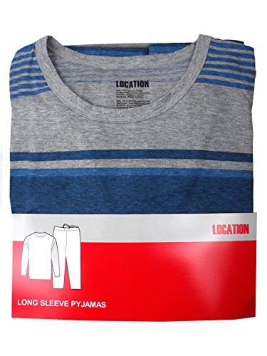 Herren Freizeit PJ Schlafanzüge Sets Nachtbekleidung PJ 2-teilig Pyjama Set Herren Größe M-XXL Heather Grau / Blau (L/S Hose)