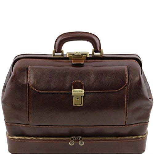 Tuscany Leather - Giotto - Esclusiva borsa medico in pelle con doppio fondo Testa di Moro - TL141297/5