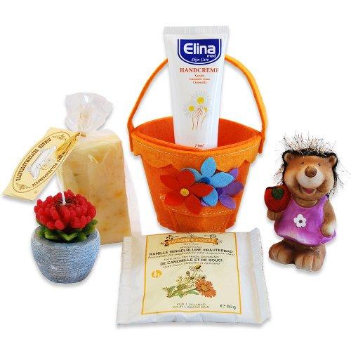 Calendula Plus Creme (REIMA AirConcept GmbH Handverpacktes Geschenk-Set für Frauen Kamilla mit Ringelblumenseife und Kamillen Handcreme sowie dekorativer Blumenkerze Plus niedlicher Igelfigur)