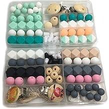 Coskiss Bricolaje bebé Mordedor Juguetes color mezclado geometría hexagonal y perlas redondas de silicona clips de