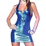 HOOUDO Women Sexy Zipper Lingerie Jumpsuits Clubwear Stripper Leather Underwear Bodysuit Dress(M,Blue)