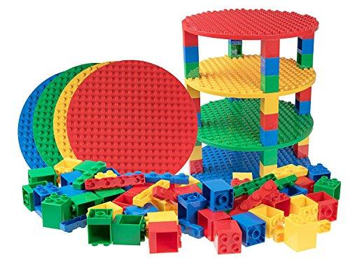 Set per costruzione torre circolare - include 48 pilastri 2x2, 4 basi e 12 mattoncini diagonali - compatibile con tutte le principali marche - solo mattoncini a pioli grandi - rosso, verde, giallo, blu