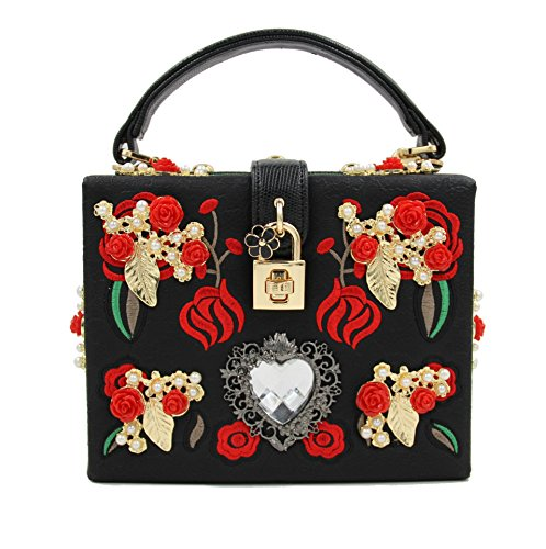 Borse Sera Signora frizioni Sera Borse Tracolla Metal Rose fiori scolpiti Luxury Dinner Party serata colorata ricamo borsa di catena Black