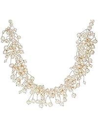 Valero Pearls - Collier de perles - Perles de culture d'eau douce - Soie perlée - Argent sterling 925 - Bijoux de perles - 120310