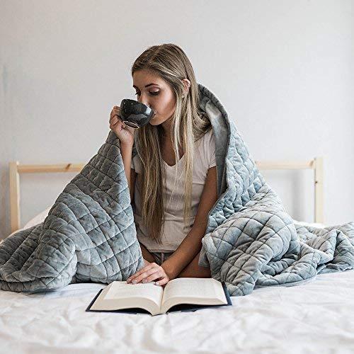 Premium Gewichteter Deckenbezug für Kinder & Erwachsene   Baumwolle grau (152x203cm-Abdeckung, Dunkelgraue Abdeckung)