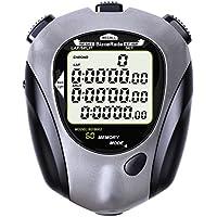 Chronomètre, 60 chronomètres à mémoire partagée, fonction compte à rebours, fonction métronome, affichage 3 lignes Chronomètre de fitness avec rétroéclairage EL (Gris)