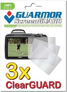 GUARMOR 3x Nikon COOLPIX L820 L810 Digital Camera Premium Clear LCD Screen Protector, 100% fit, no cutting (3 Pieces)